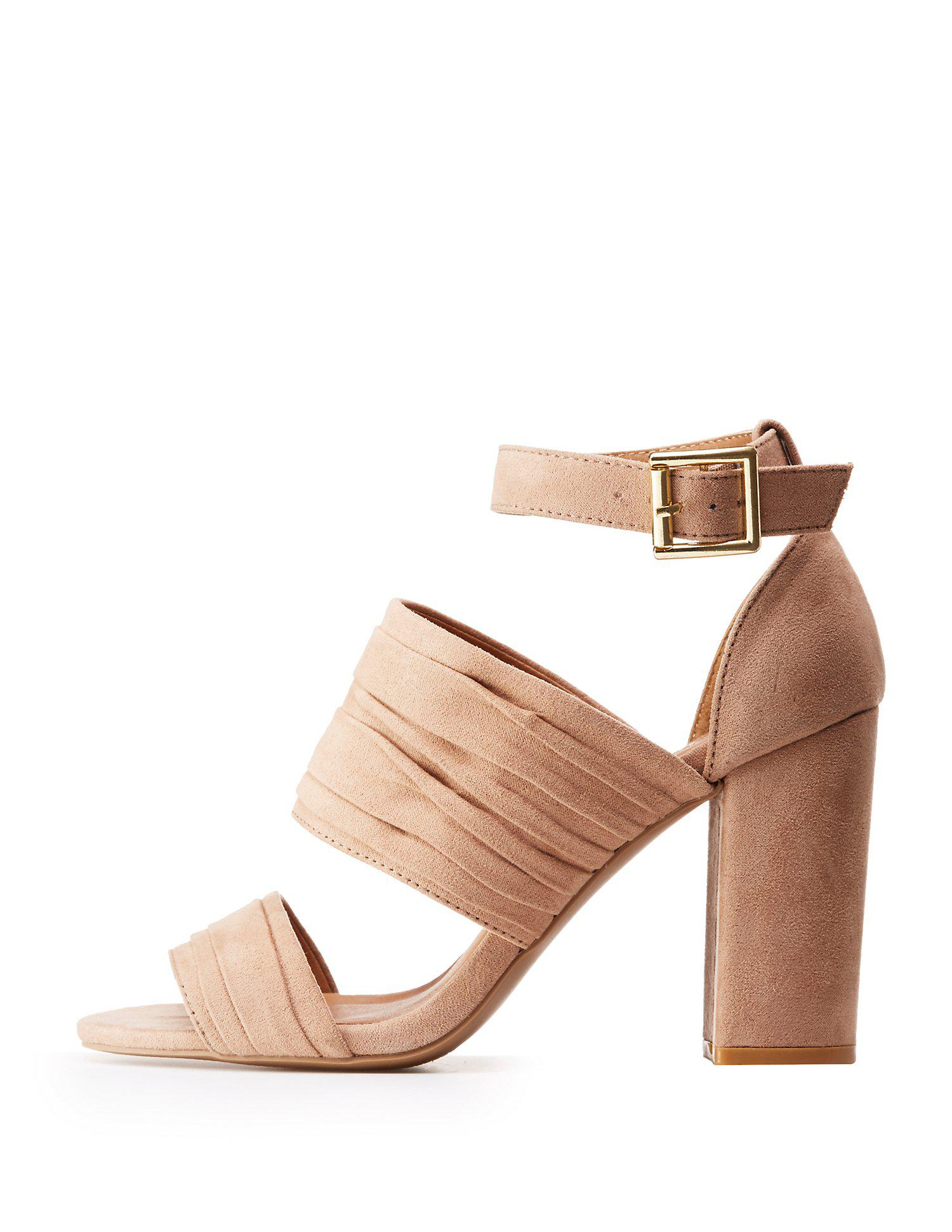 88d0e8066deb Lyst - Charlotte Russe Ruched Ankle Wrap Sandals