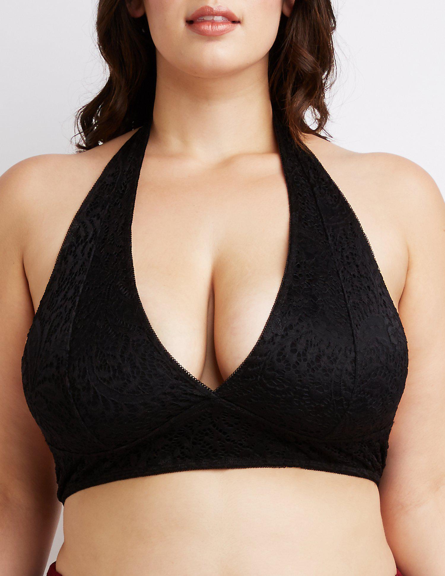 5e28095240 Lyst - Charlotte Russe Plus Size Lace Halter Bralette in Black