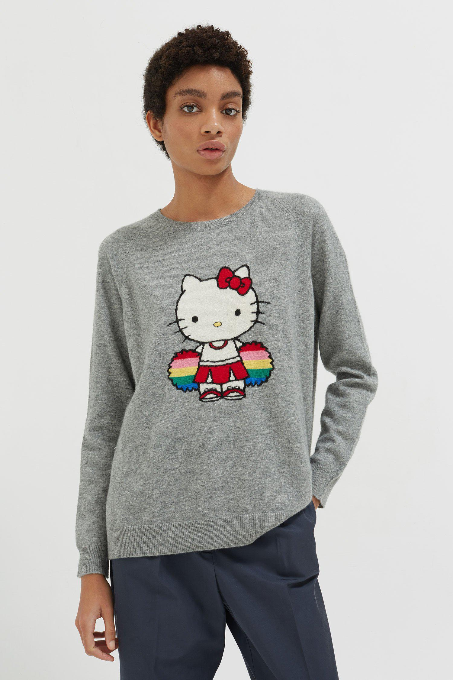 amp; Parker Hello Grey Gray Sweater Chinti Kitty Women's Cheerleader dSznqdW5