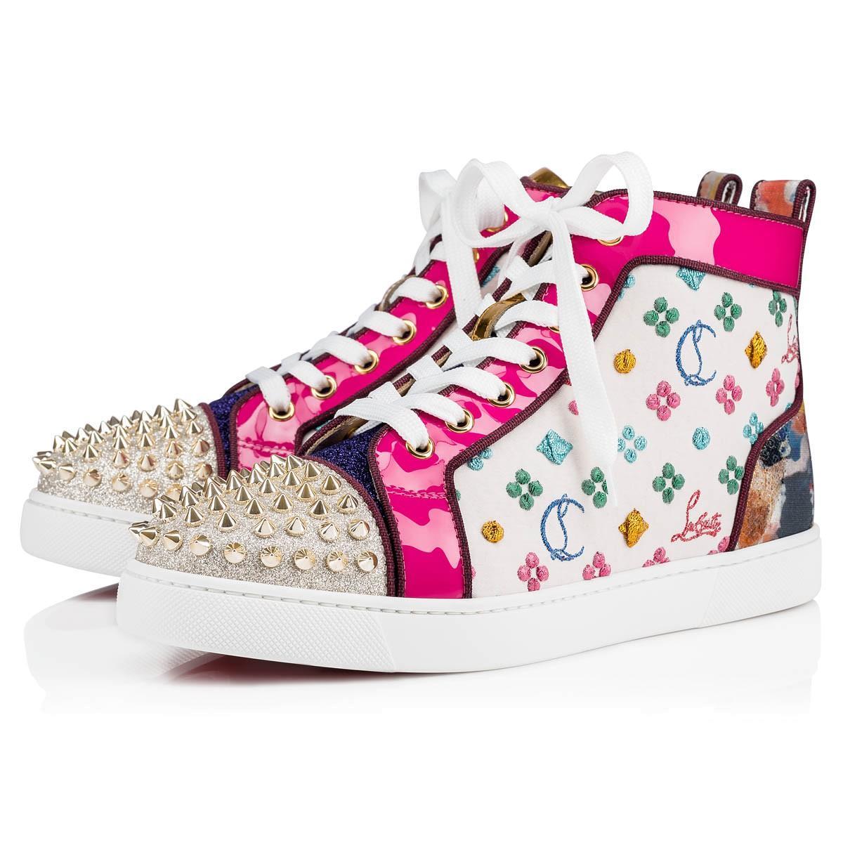 9ab7fd4e2ea Christian Louboutin Lou Spikes Woman Orlato Flat in Pink - Lyst