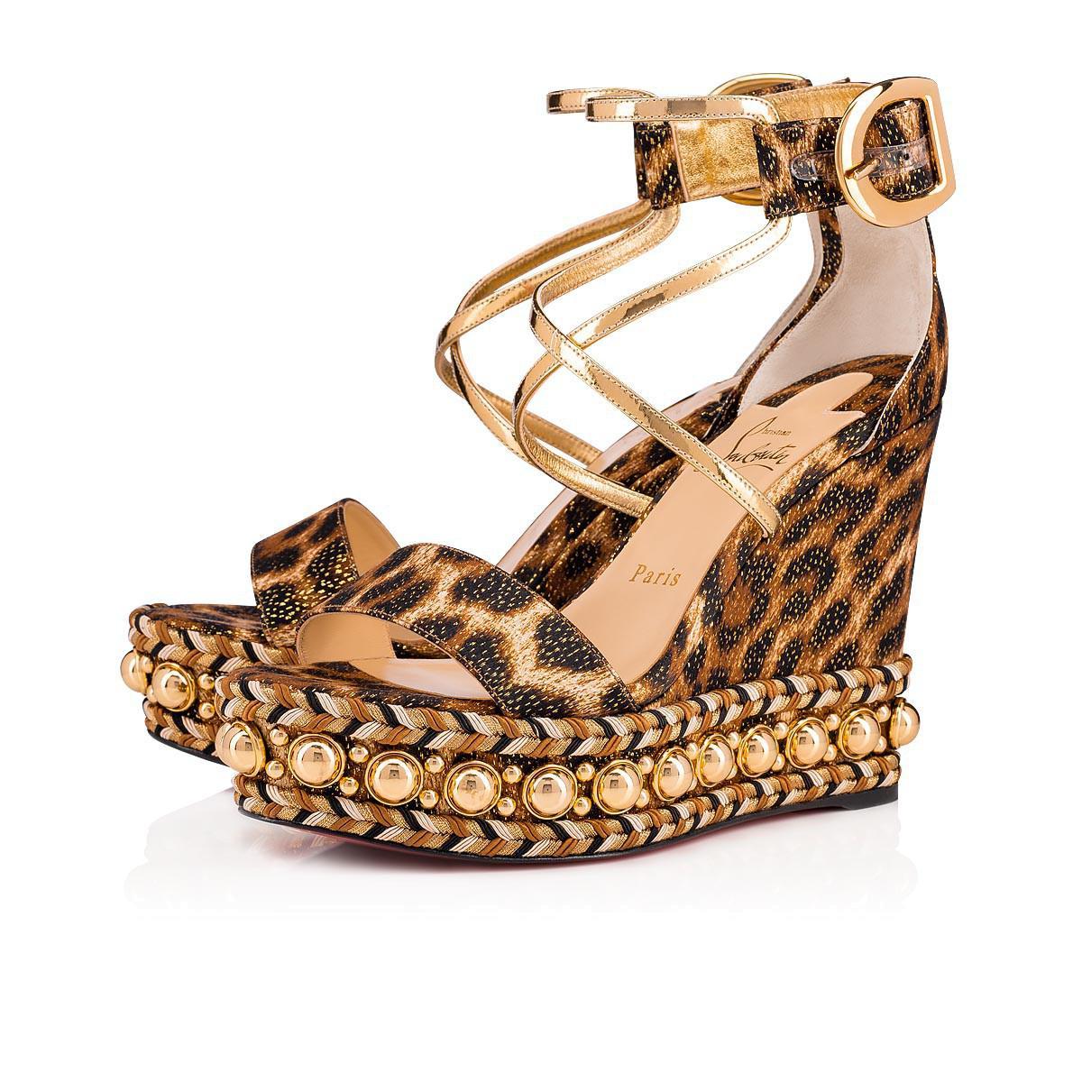 99af72eb2db Christian Louboutin. Women s Metallic Chocazeppa 120 Leopard Lurex Platform  Wedge Sandals
