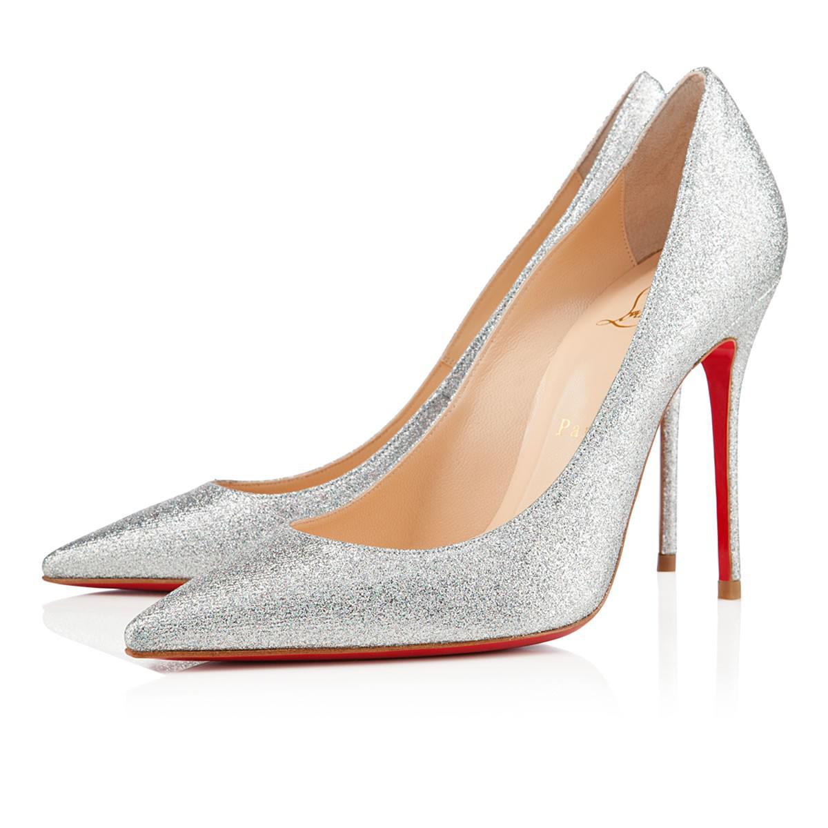 9c056be86f24 Christian Louboutin. Women s Metallic Decollete 554 Glitter Mini 100 Silver  Glitter Canvas
