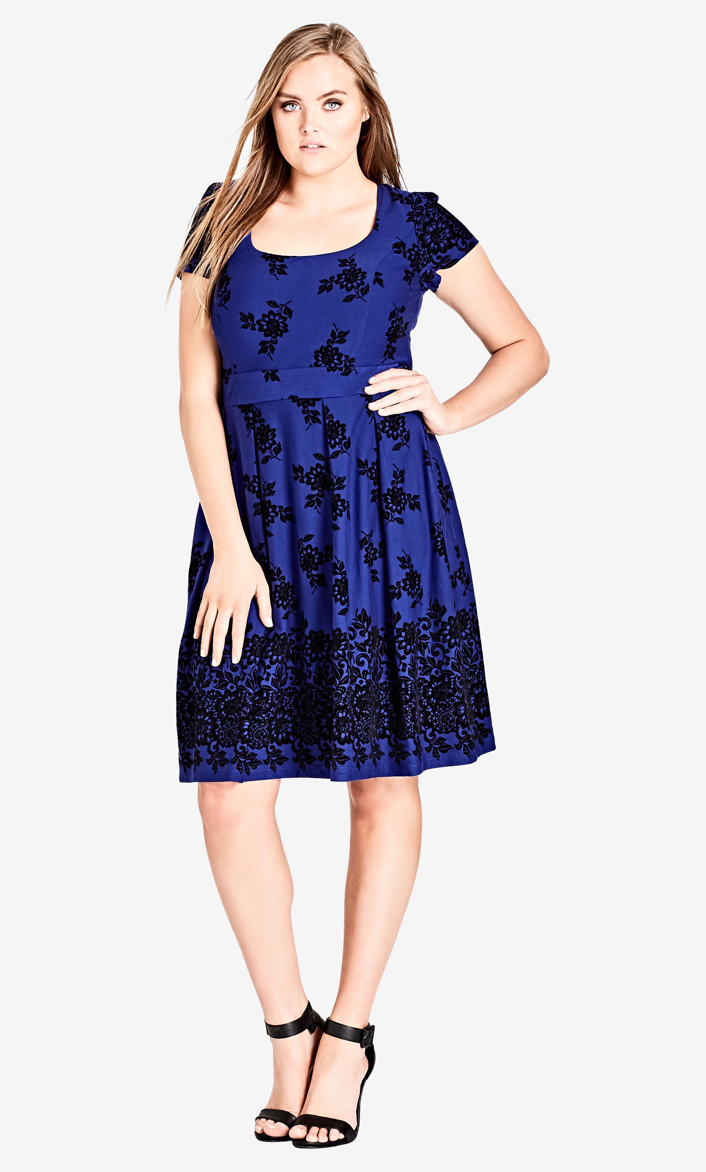 d47b13dc105 Lyst - City Chic Lace Flock Dress in Blue