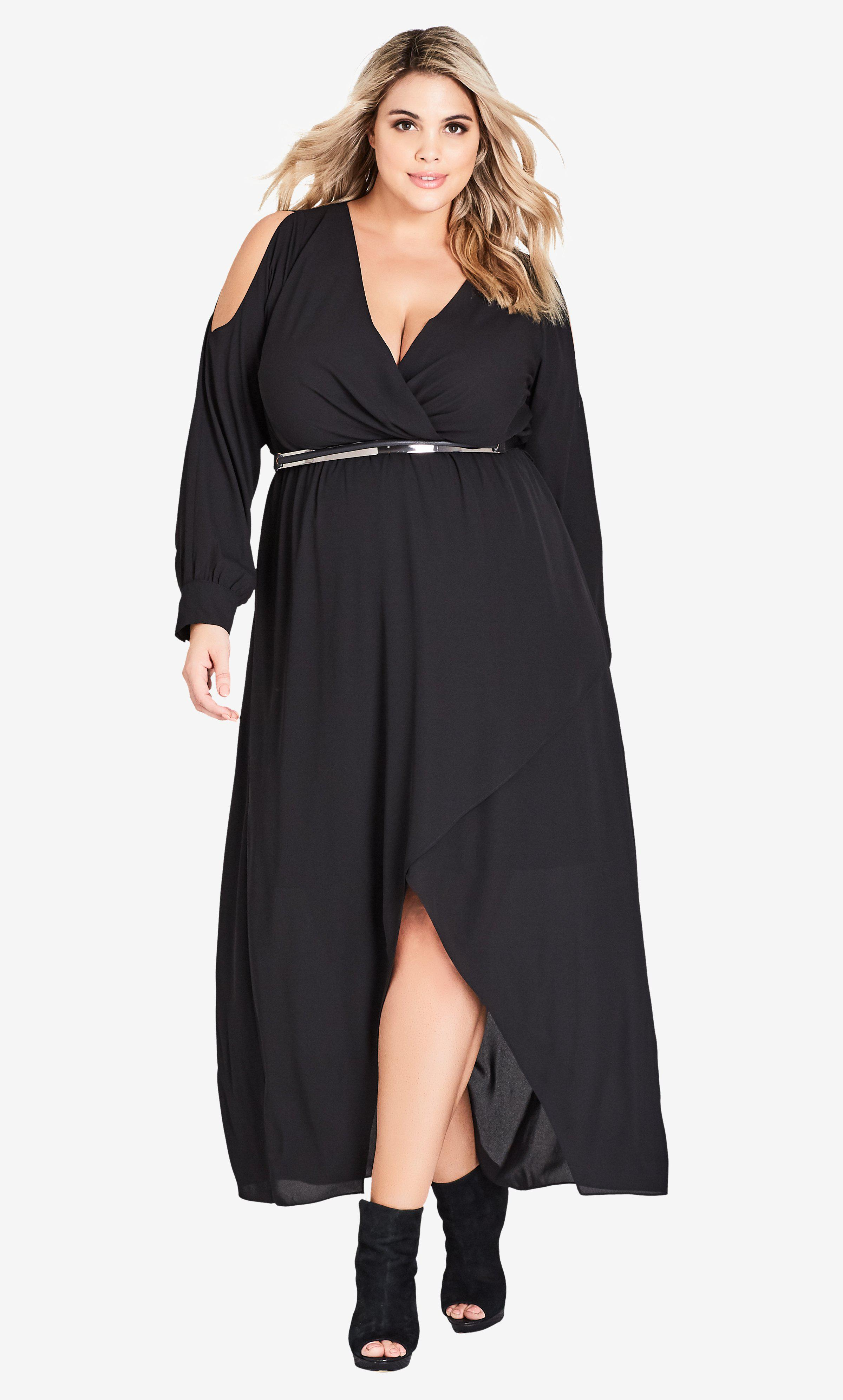11093e4605 Lyst - City Chic Sinister Maxi Dress in Black - Save 25.21008403361344%