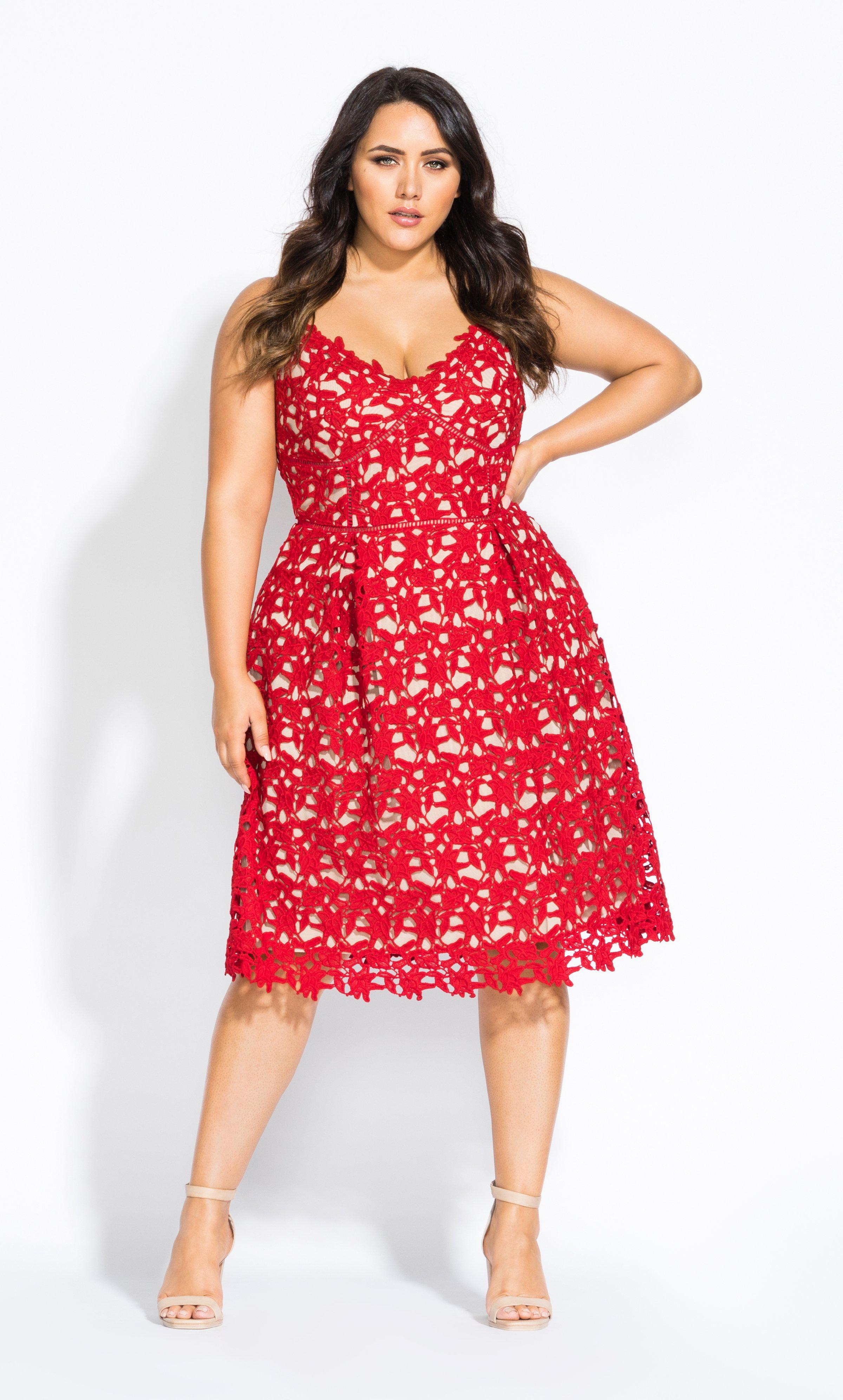 b4ade320554 Lyst - City Chic So Fancy Lace Dress in Red - Save 50%