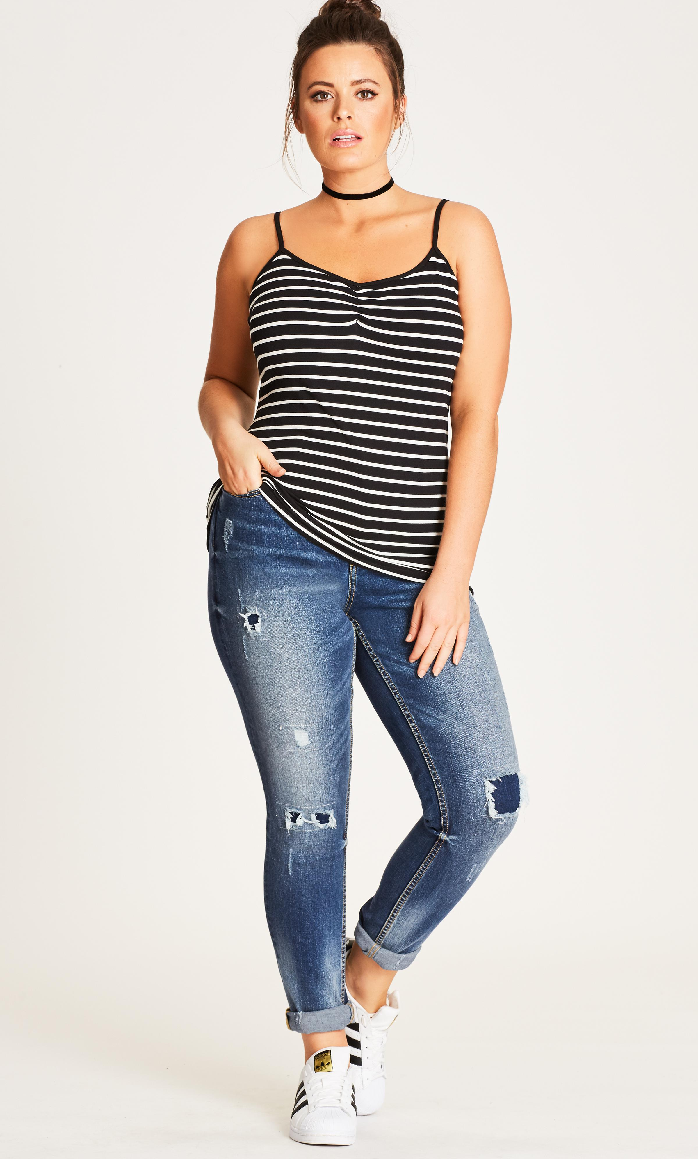 3a2ba5f1491617 Lyst - City Chic Stripe Basic Gather Front Camisole in Black