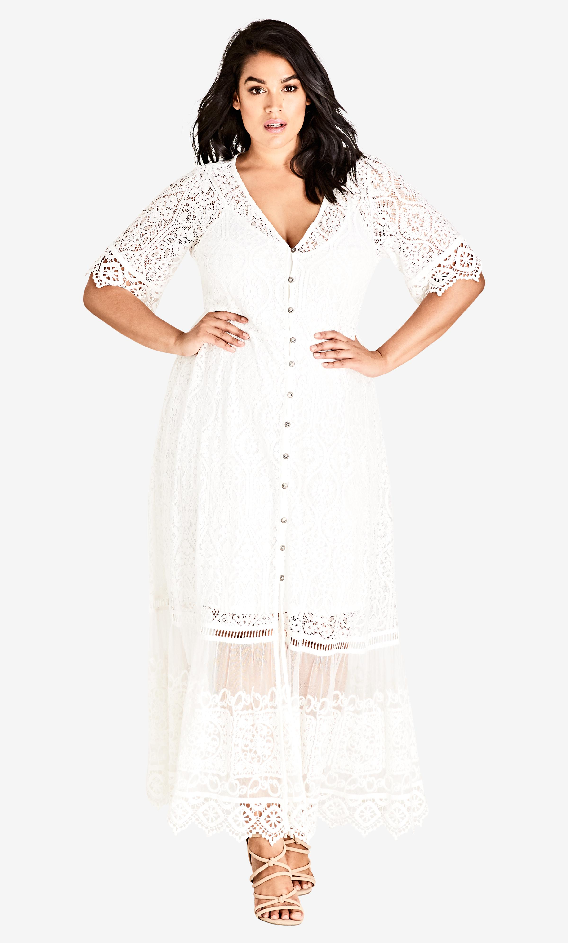 98725f6f7cb3 Lyst - City Chic Ivory Summer Lace Maxi Dress in White - Save 30%