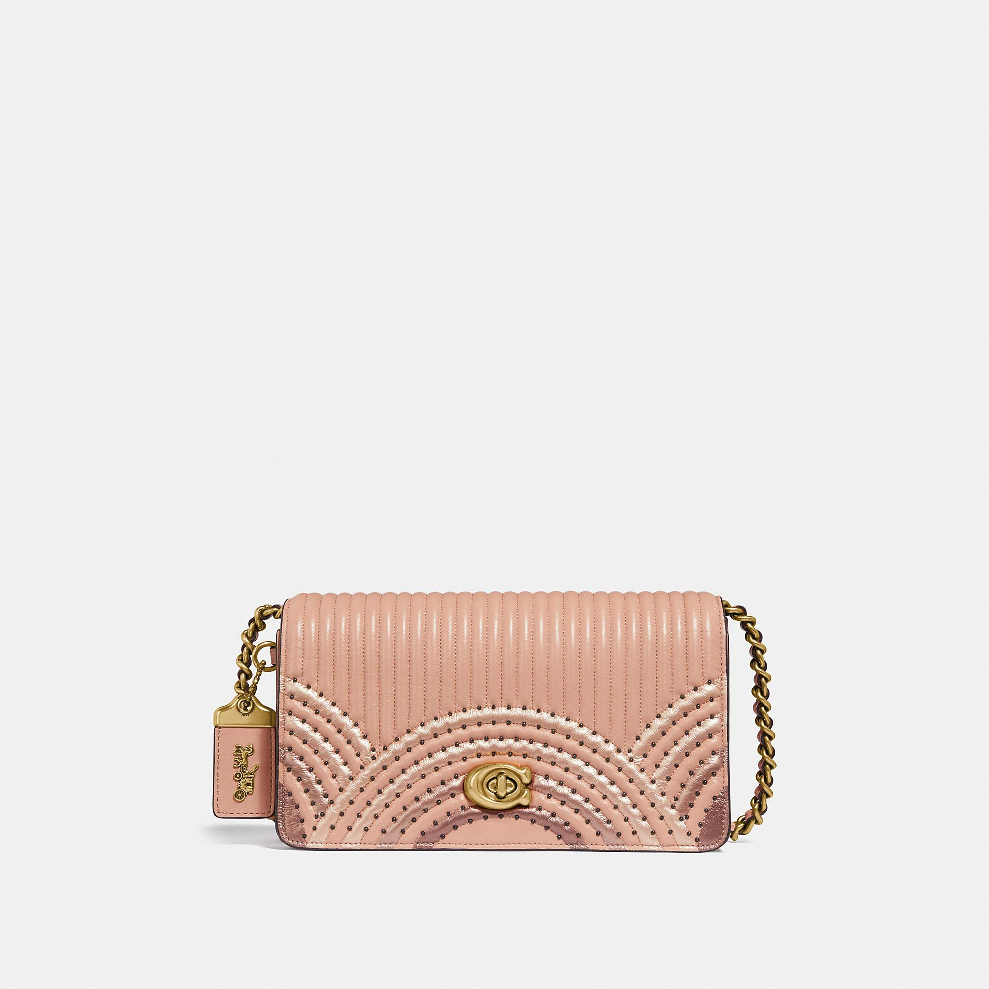 f66ae54e5a031 Lyst - COACH Dinky With Colorblock Deco Quilting And Rivets in Pink