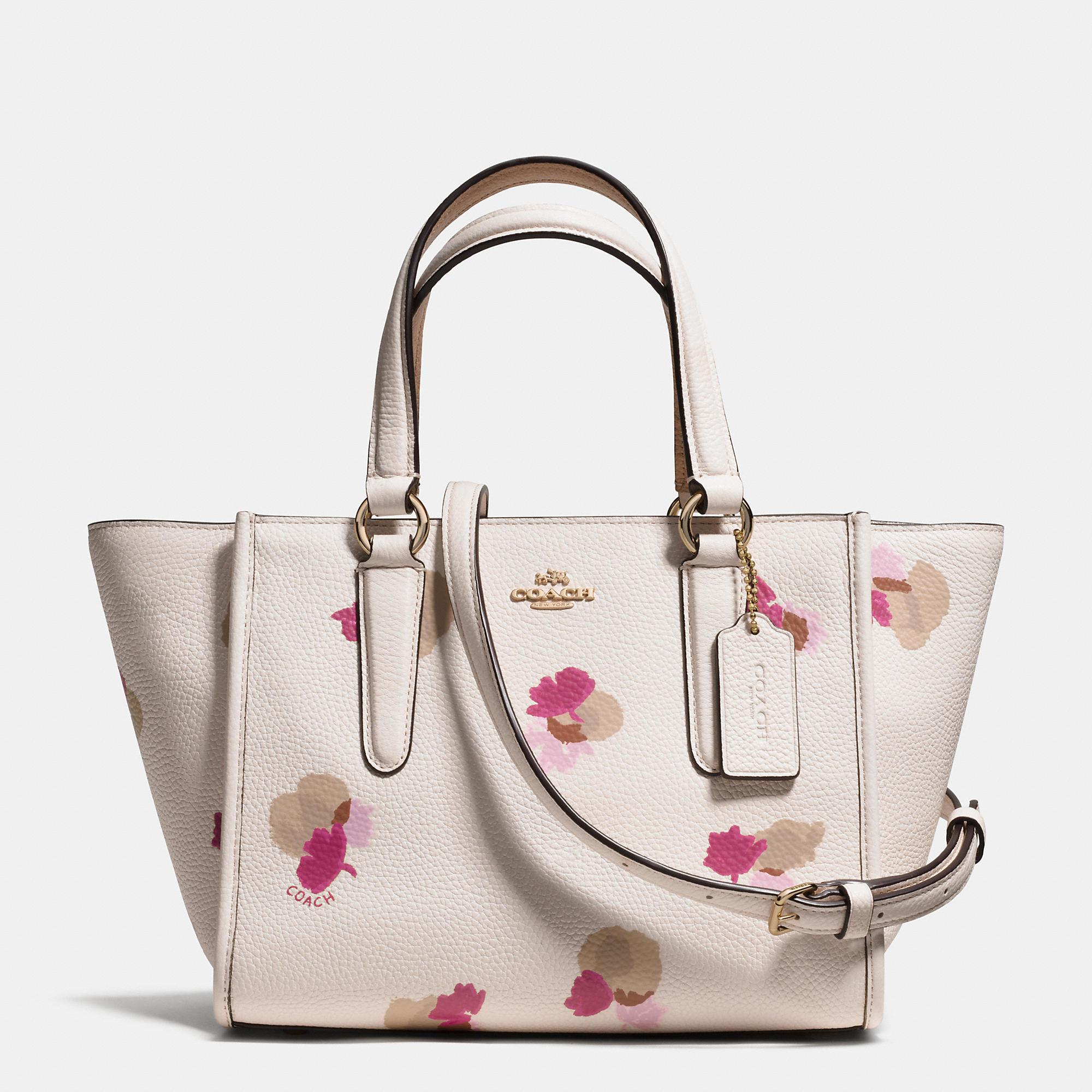Pink flower coach purse best purse image ccdbb lyst coach mini crosby carryall in fl print pebble leather coach accordion zip wallet in flower mightylinksfo