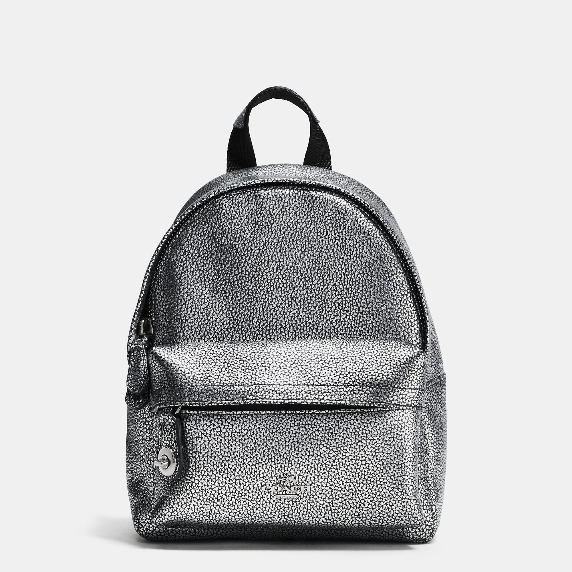 Coach Mini Campus Backpack In Pebble Leather In Metallic