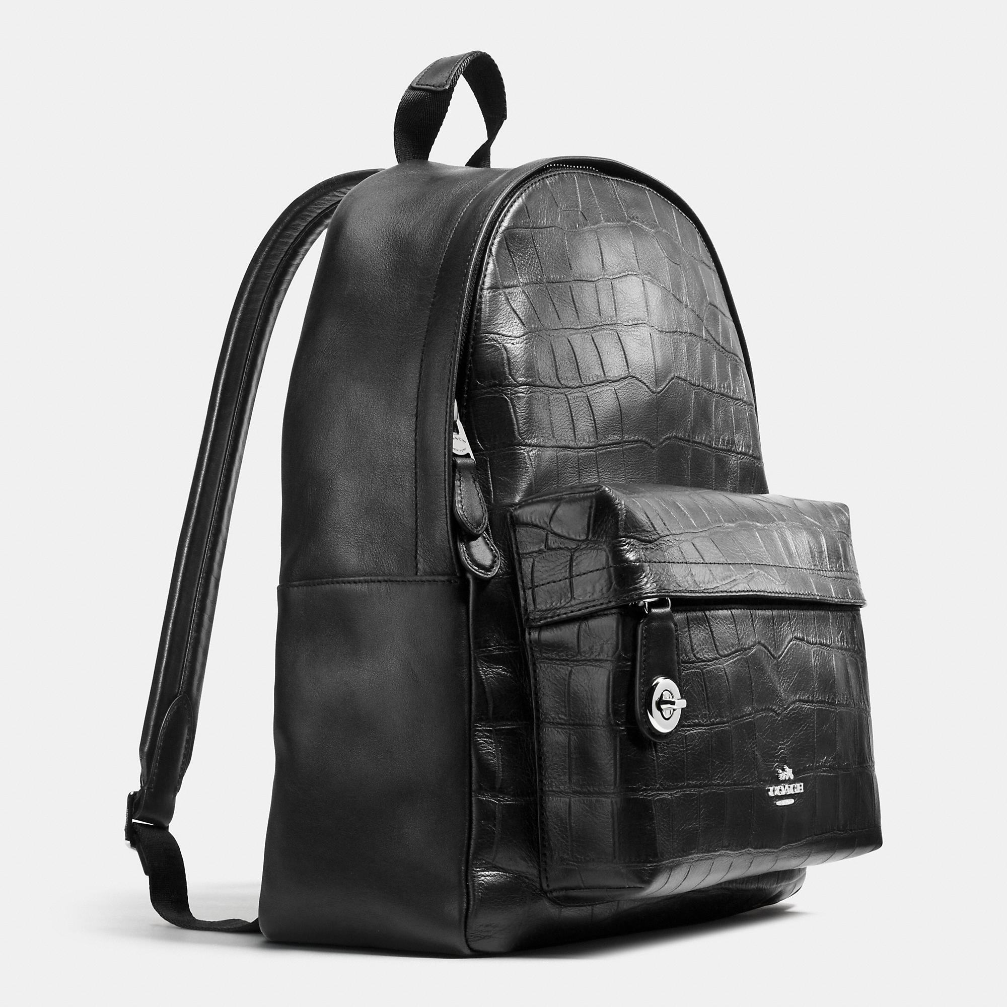Coach Campus Backpack In Croc Embossed Leather in Black | Lyst