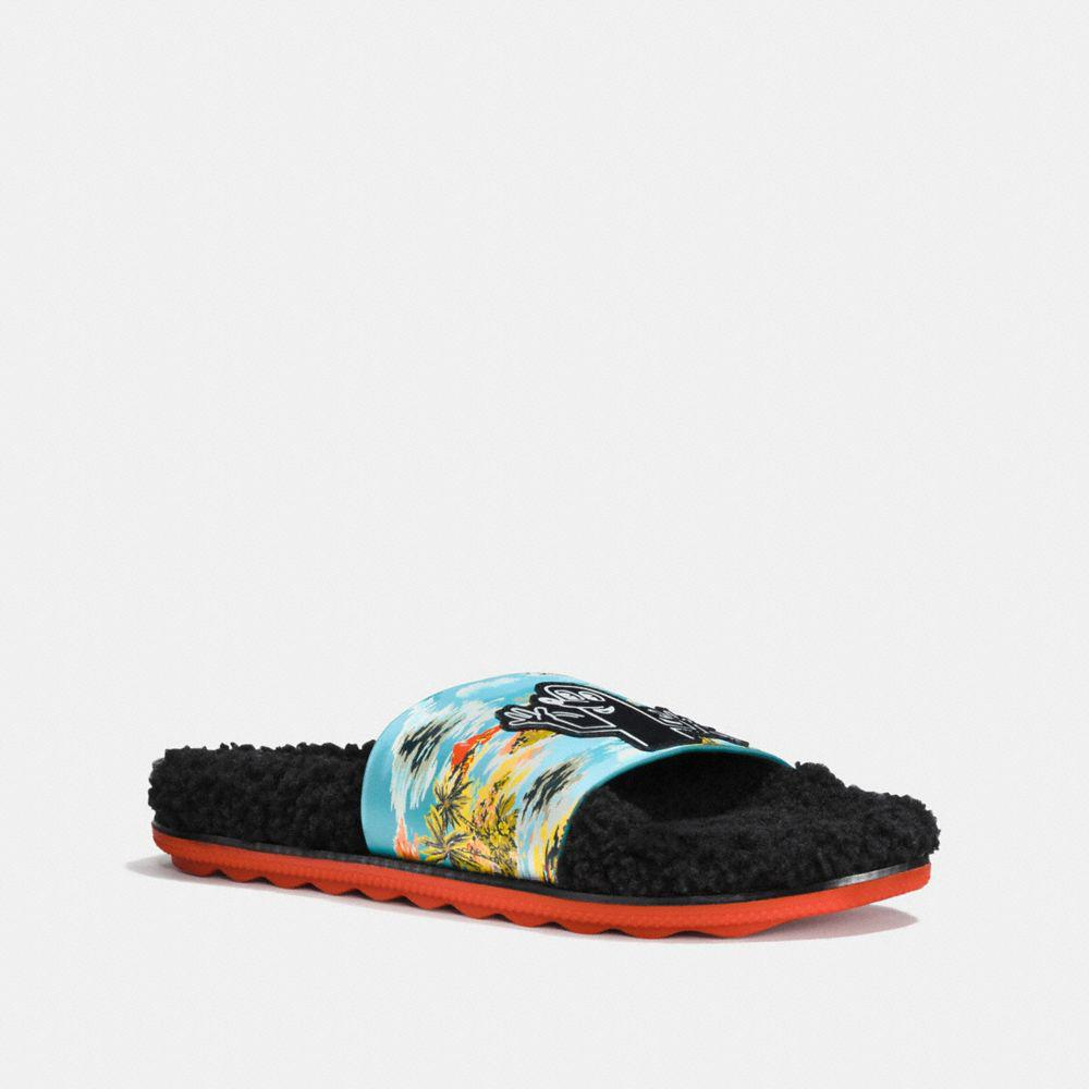 d265e2875ea3 Coach X Keith Haring Shearling Slide in Blue - Lyst