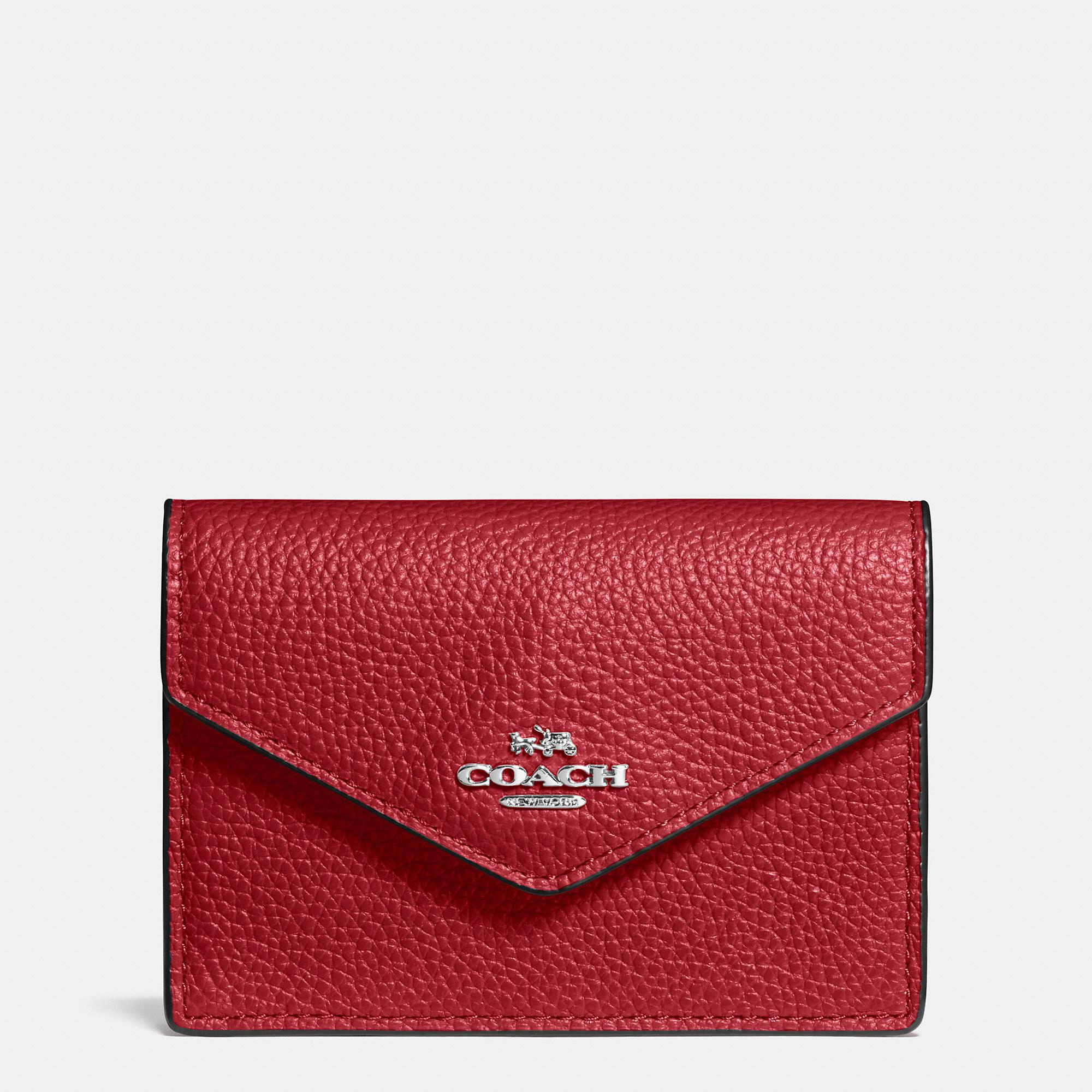 99f2b4b947b7 Lyst - COACH Envelope Card Case In Polished Pebble Leather in Red