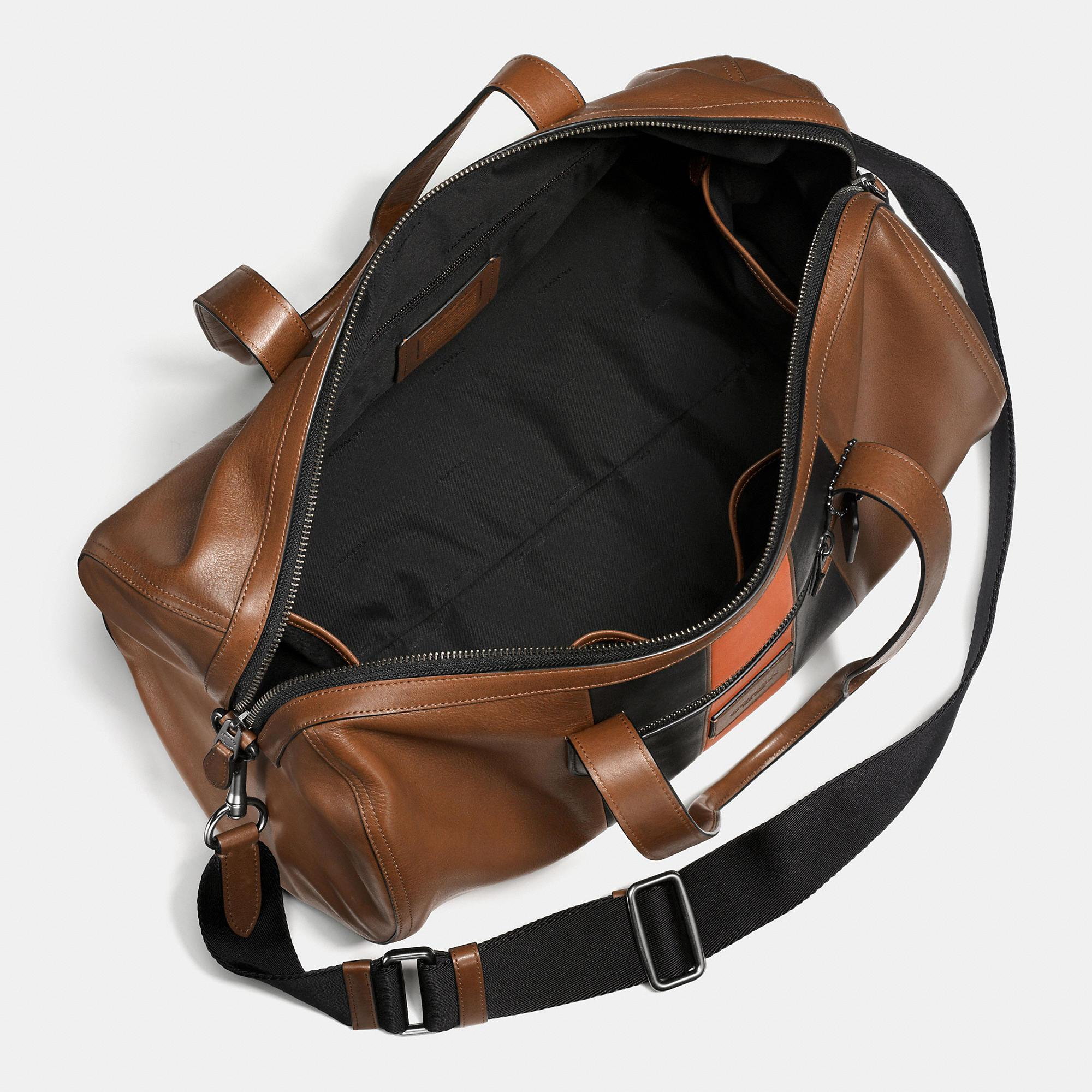 3adc64054e58 Lyst - COACH Metropolitan Soft Gym Bag In Sport Calf Leather With Varsity  Stripe in Brown for Men