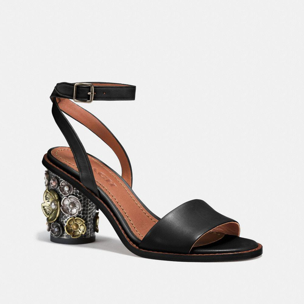 a1615223c6 COACH Mid Heel Sandal With Tea Rose in Black - Lyst