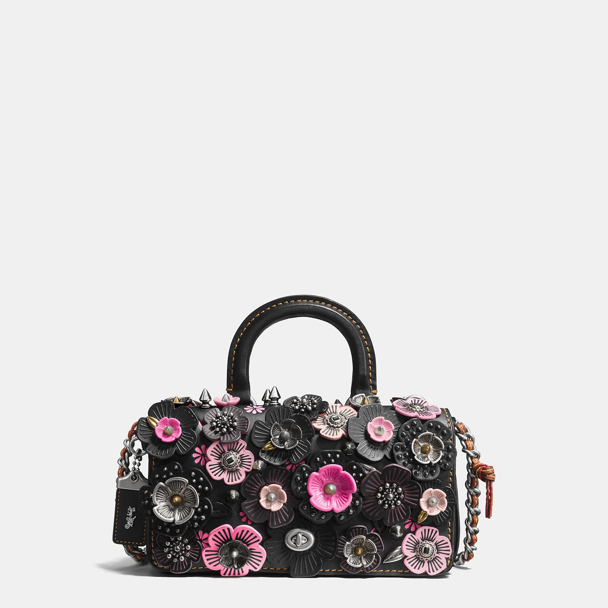 Coach Double Dinky In Glovetanned Leather With Wild Tea Rose Black