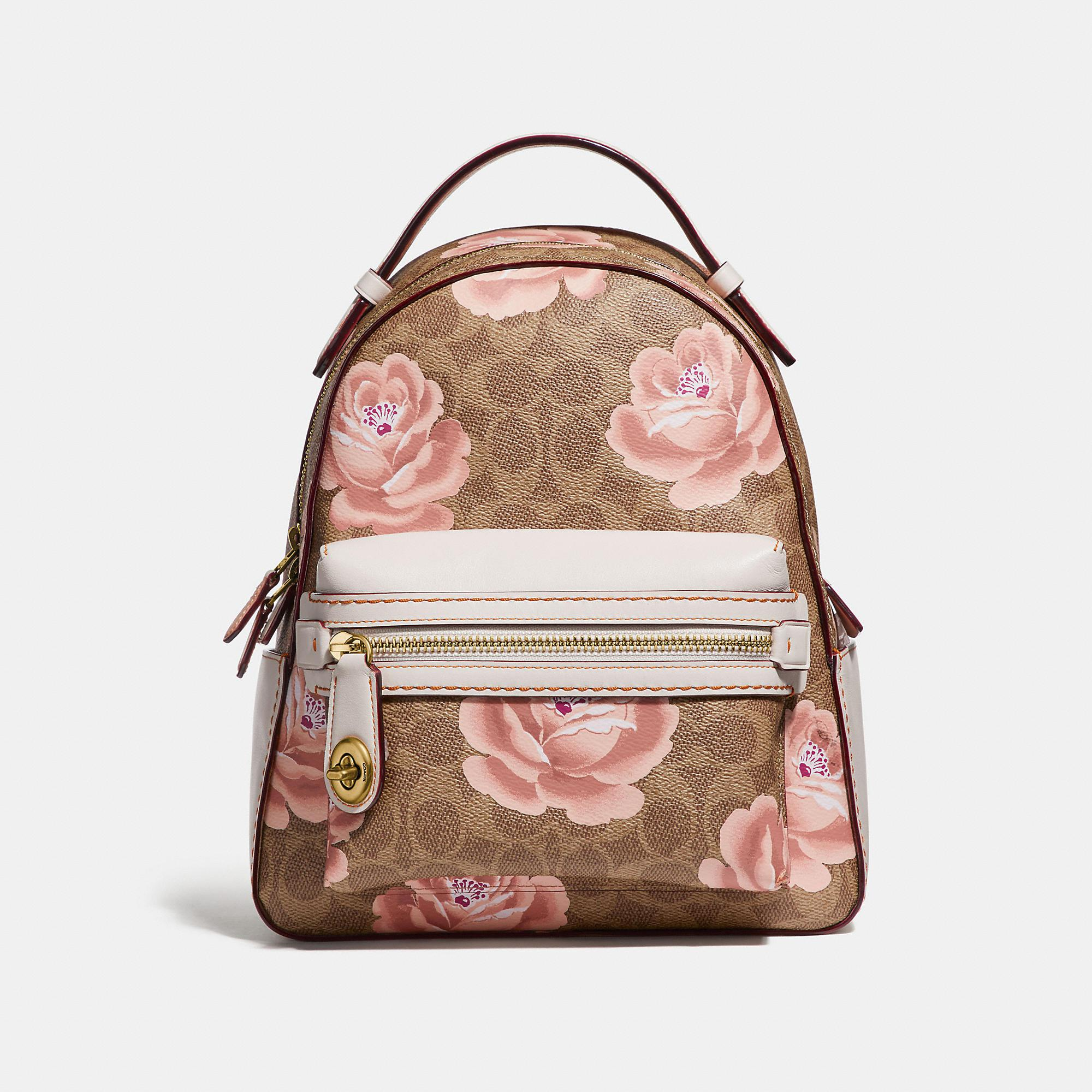 3bba1cce1d068 Lyst - COACH Campus Backpack 23 In Signature Rose Print