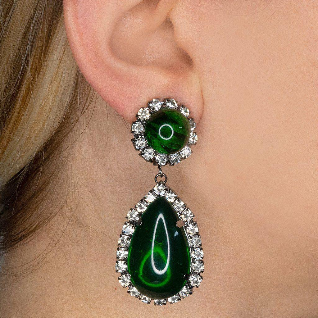 Kenneth Jay Lane Green Gunmetal Crystal And Emerald Cabachon Teardrop Clip Earrings Lyst View Fullscreen