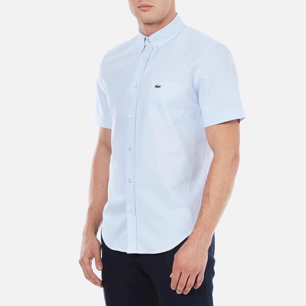 Lyst lacoste men 39 s oxford short sleeve shirt in blue for men for Short sleeve lacoste shirt