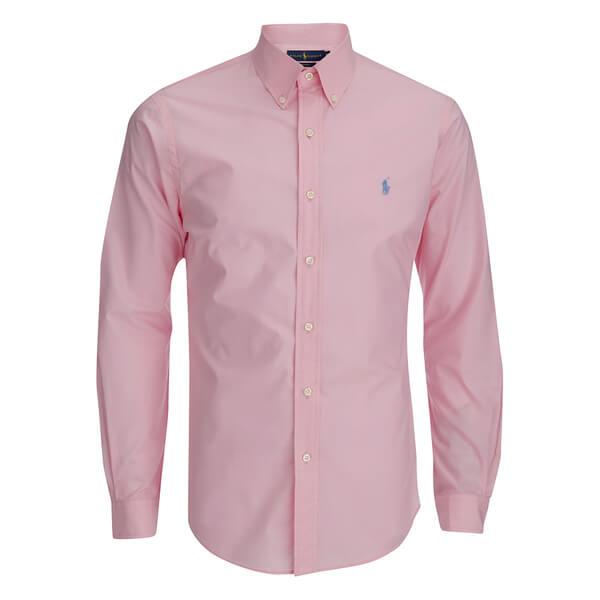 Polo ralph lauren men 39 s long sleeve button down shirt in for Mens pink shirts uk