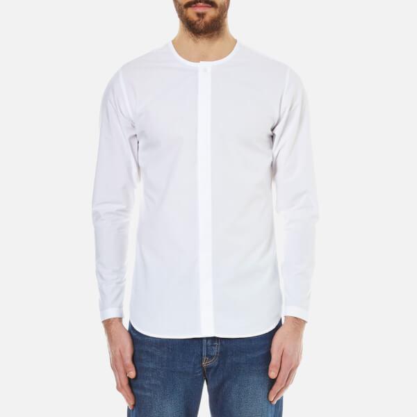 Folk men 39 s collarless shirt in white for men lyst for Collarless shirts for men