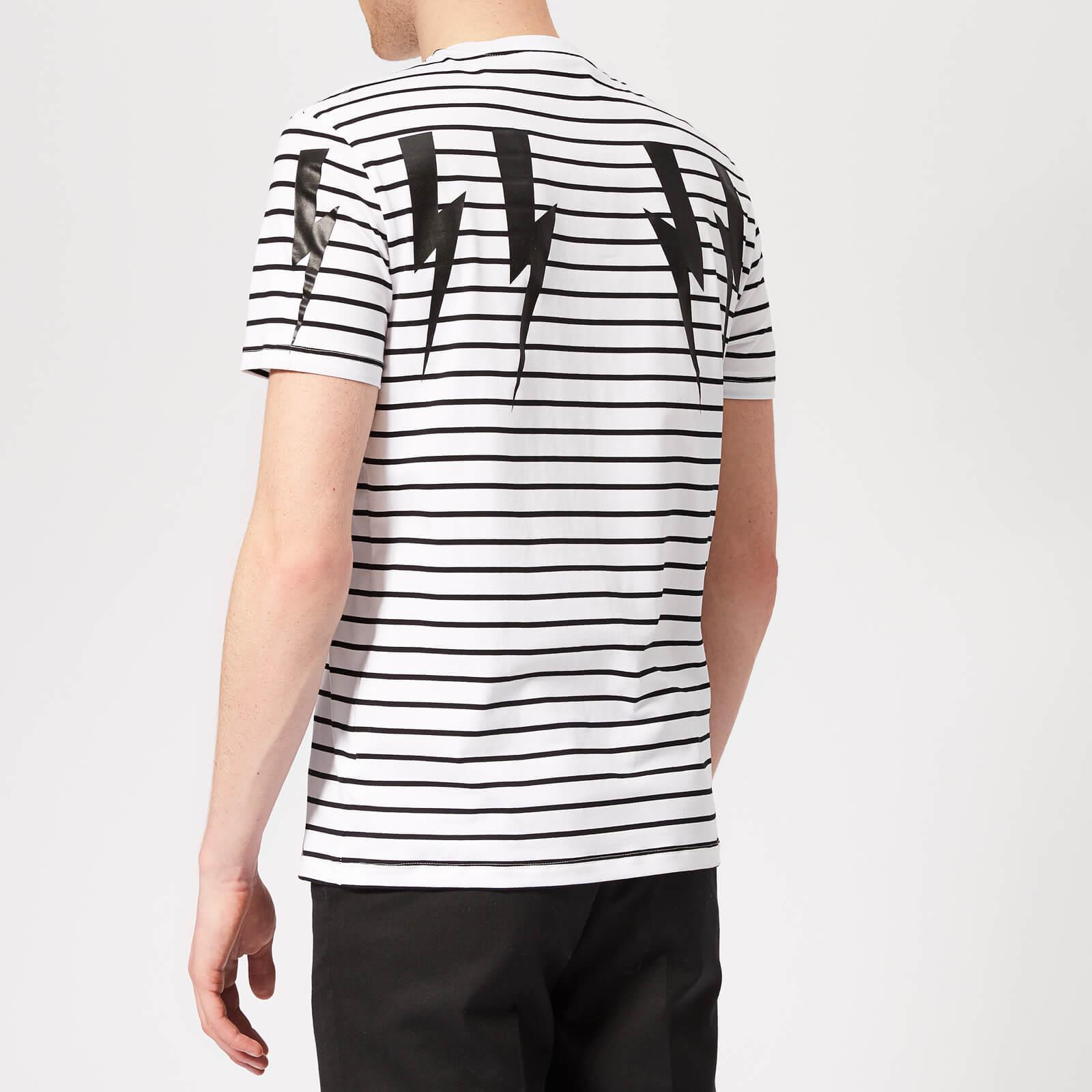 6e6dfc97 Neil Barrett Bolt Wings Striped T-shirt in White for Men - Lyst