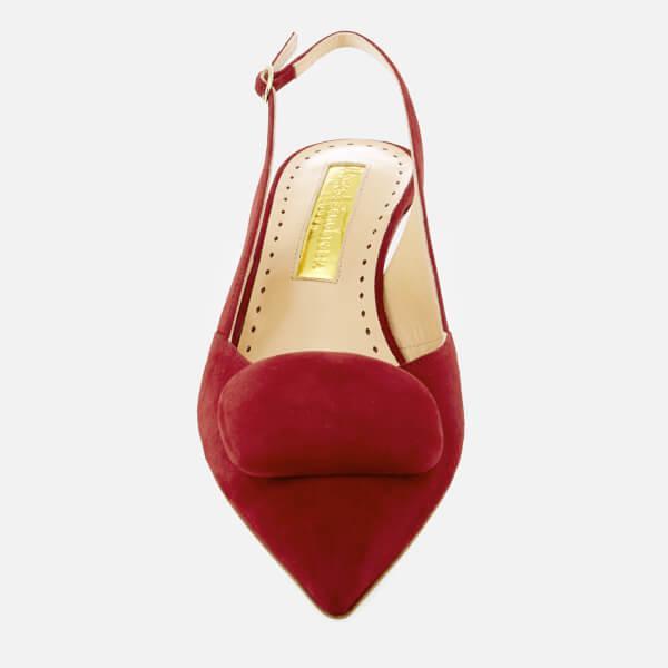 d036611610ab Rupert Sanderson - Red Women s Misty Pebble Suede Sling Back Kitten Heels -  Lyst. View fullscreen