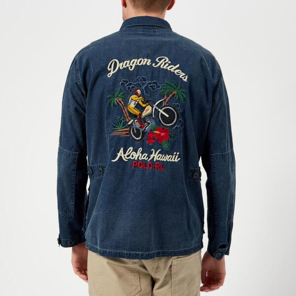 Moto Dye Rider Hawaii Embroidery Indigo Men Polo Lauren Ralph Aloha FcTKJ13l