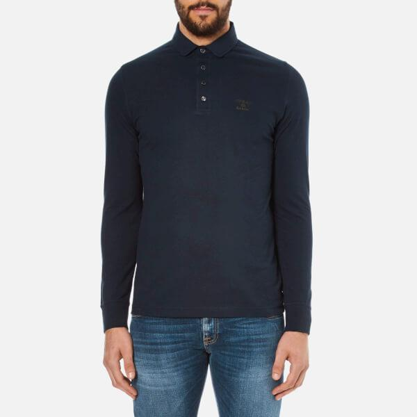 Barbour. Blue Heritage Men's Standard Long Sleeve Polo Shirt