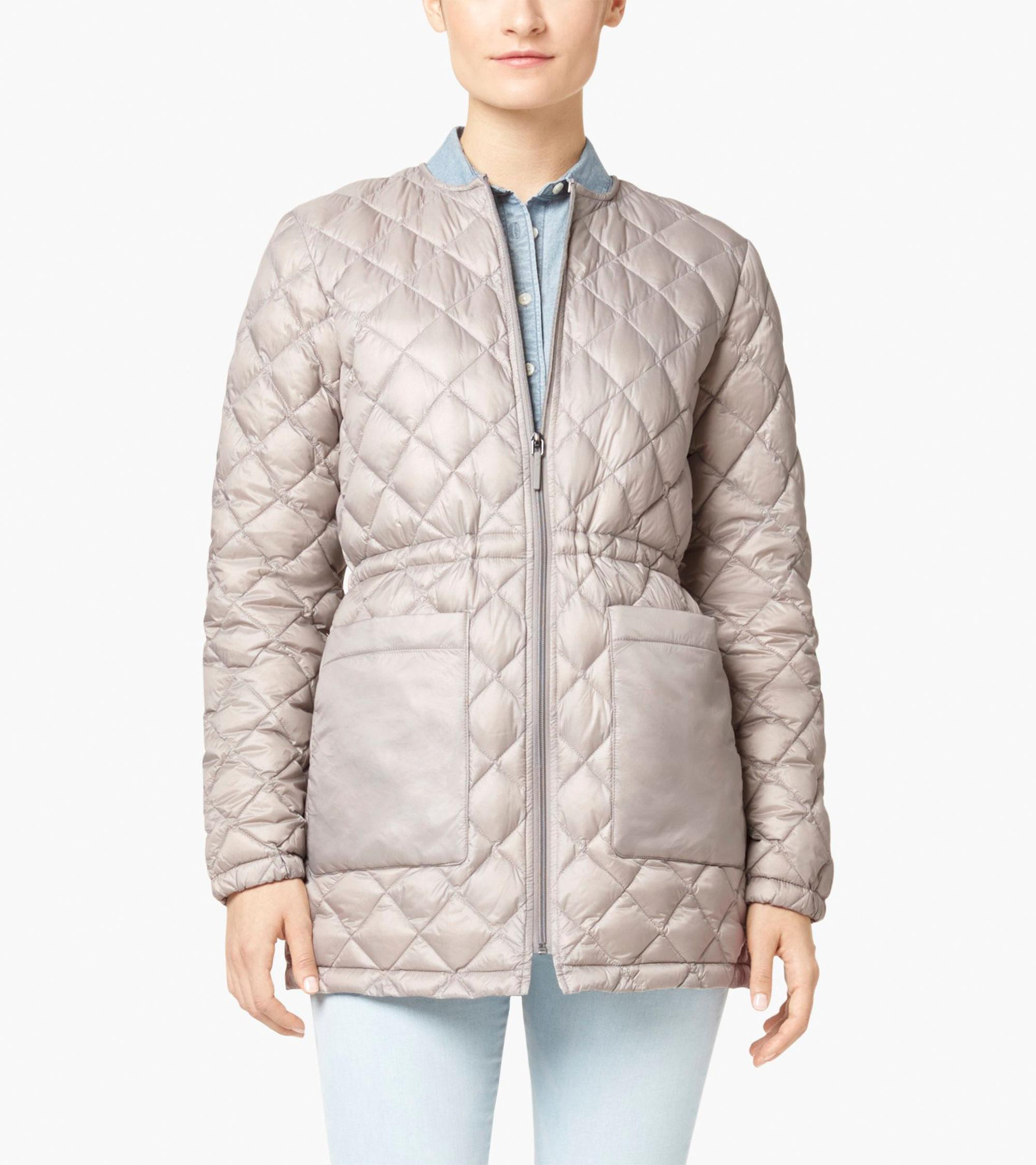 Cole haan diamond quilted hooded parka