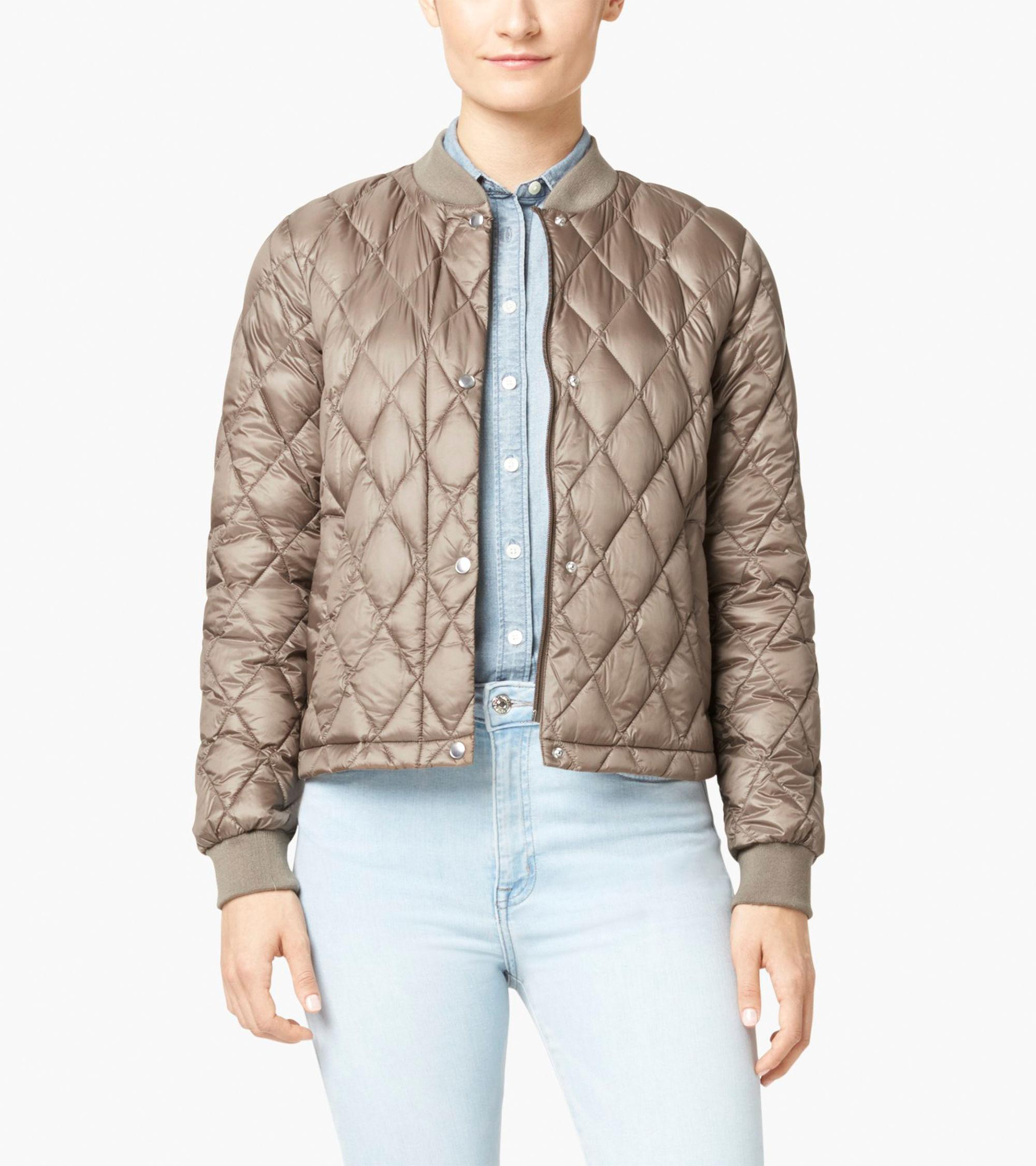 Lyst Cole Haan Quilted Varsity Down Jacket In Brown