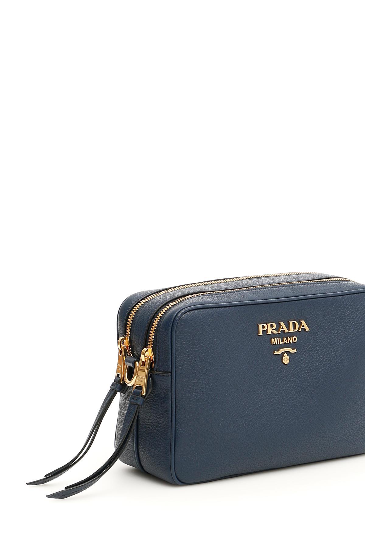 64d5af0cf4d382 Lyst - Prada Calfskin Crossbody Bag in Blue