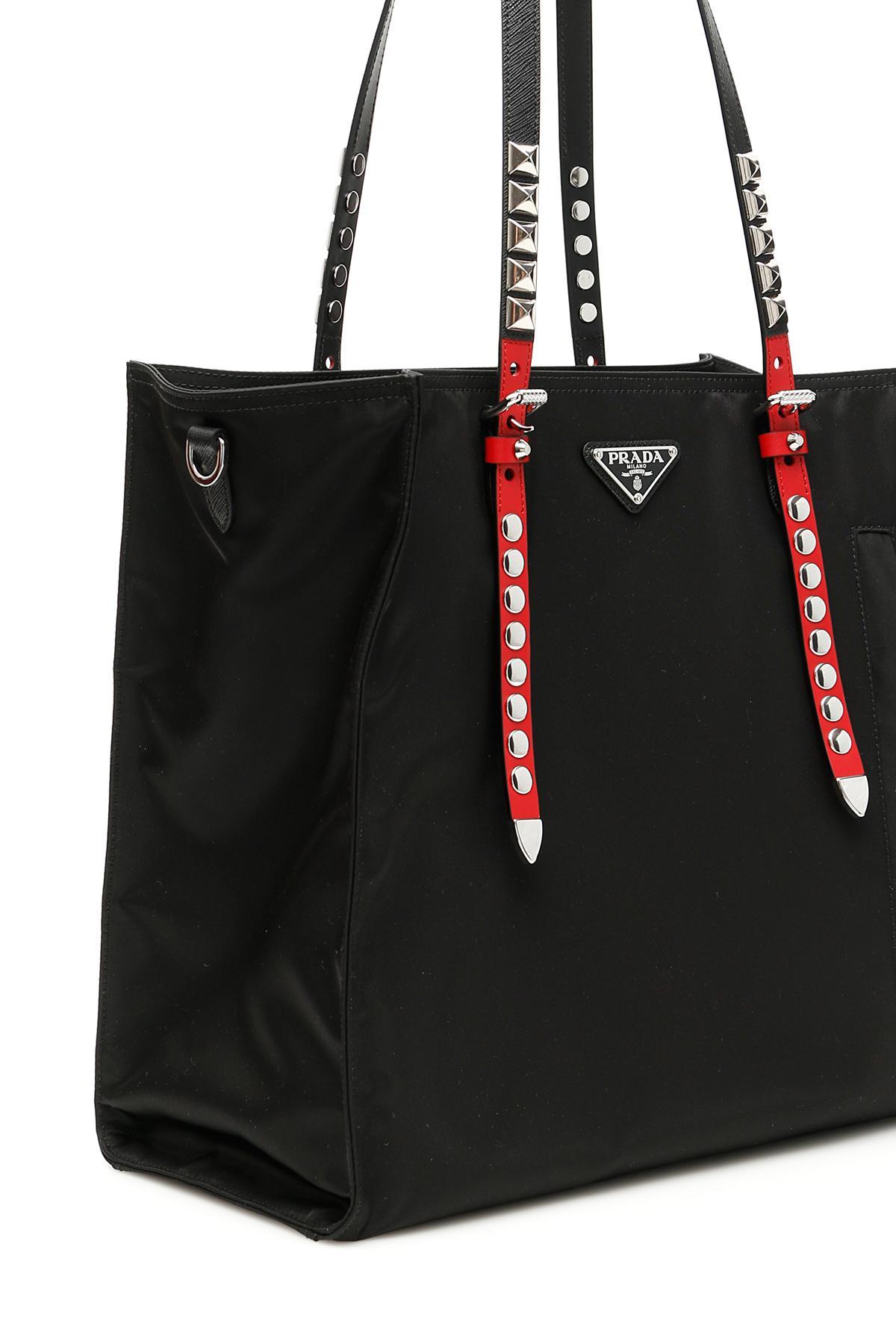 e9630859e00f Prada Studded Nylon Shopper in Black - Lyst
