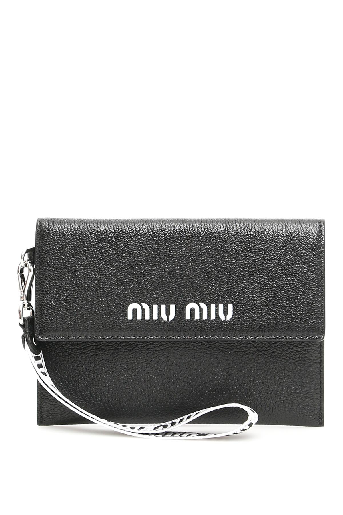 7970247018 Miu Miu Madras Pouch With Logo in Black - Lyst