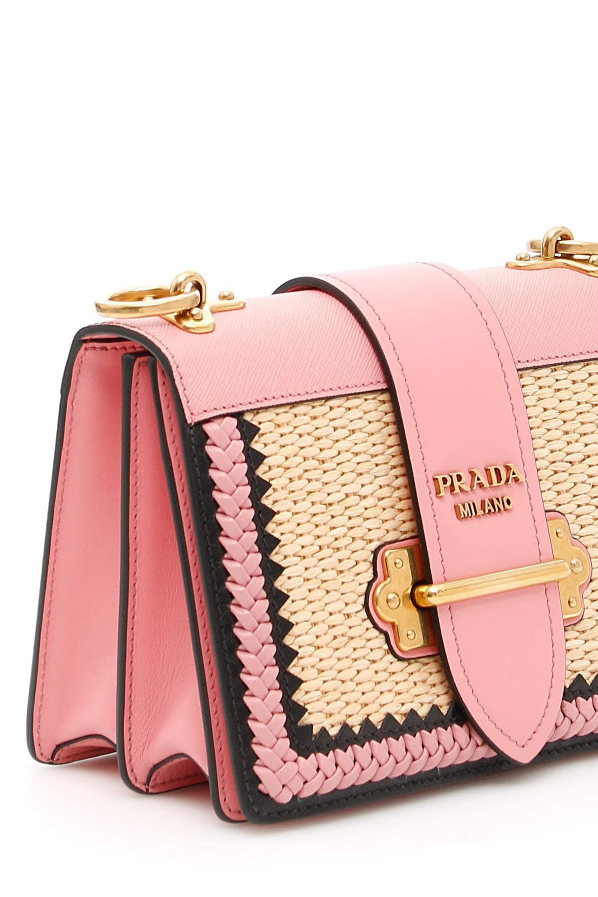 99de040d70e4 ... wholesale prada pink calfskin and straw cahier bag lyst. view  fullscreen 9e034 1230d
