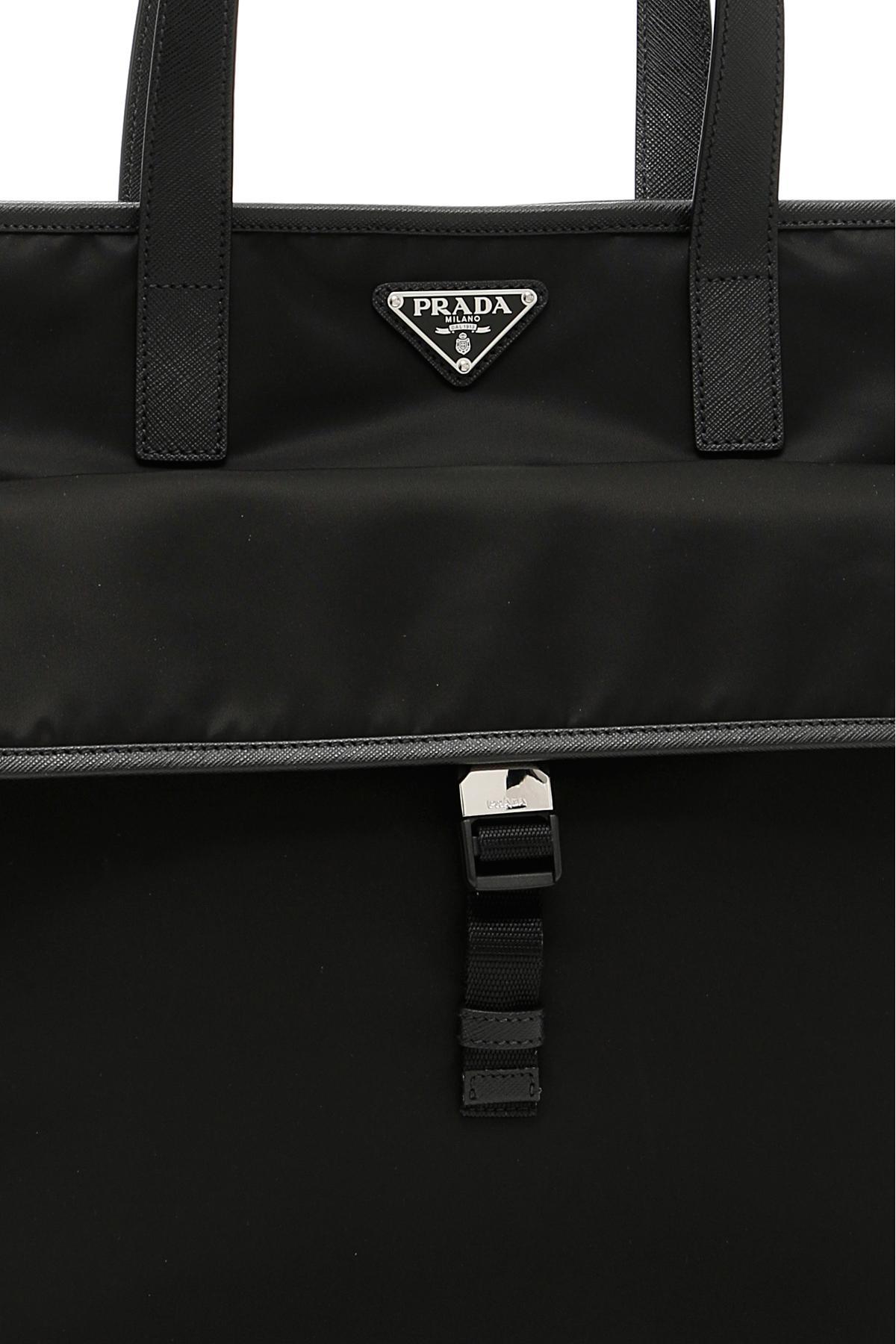 e3ce365b6423 Lyst - Prada Nylon And Saffiano Tote Bag in Black for Men