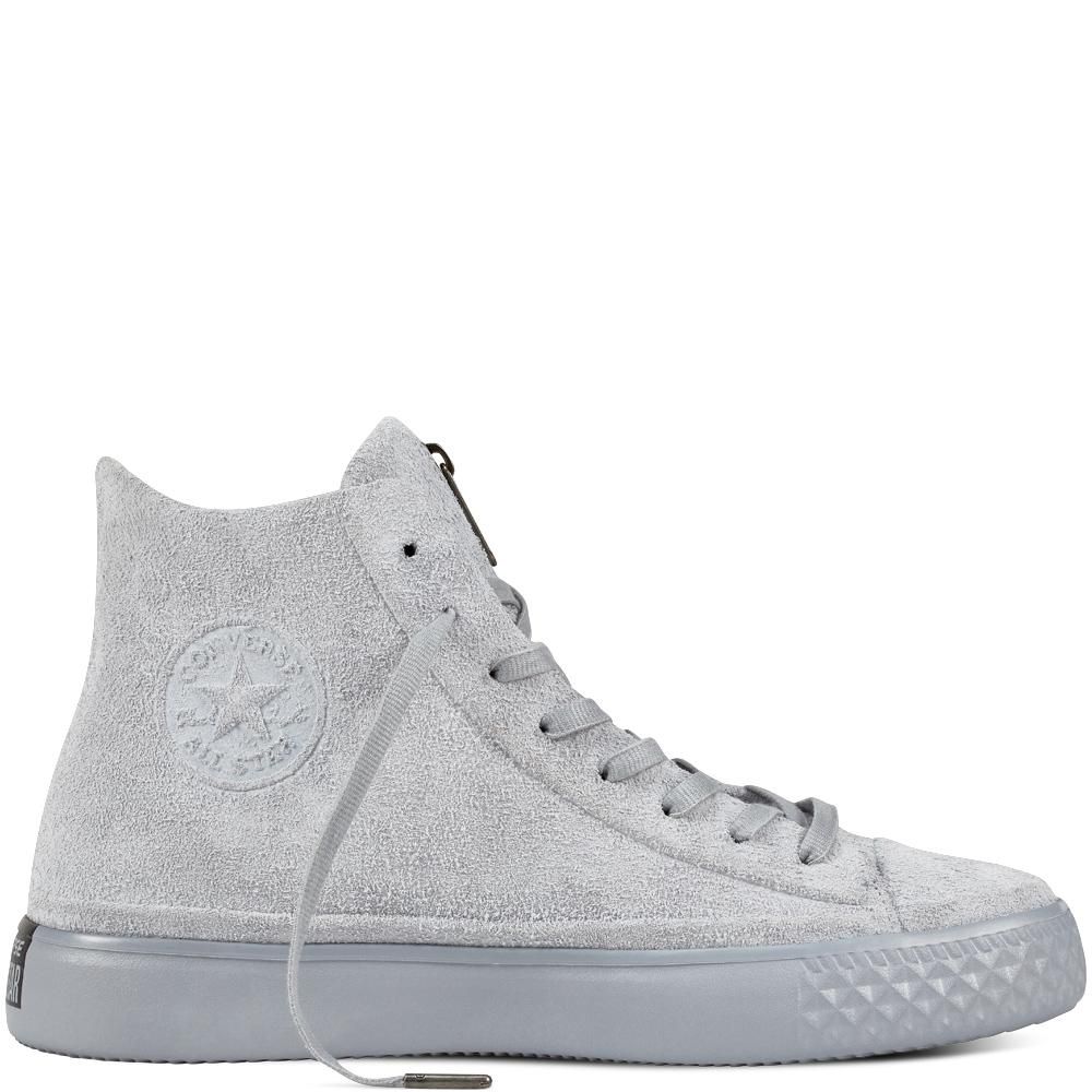 7c4e1d695e5da6 Converse Chuck Taylor All Star Modern Coated Suede Zip in Gray for ...