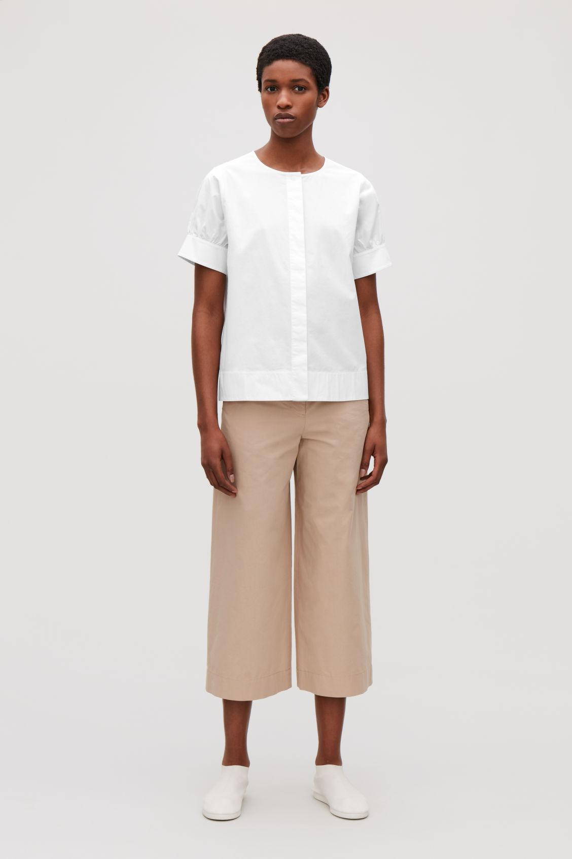 In Shirt Collarless Lyst White Cropped Cos ztqEx8YwW