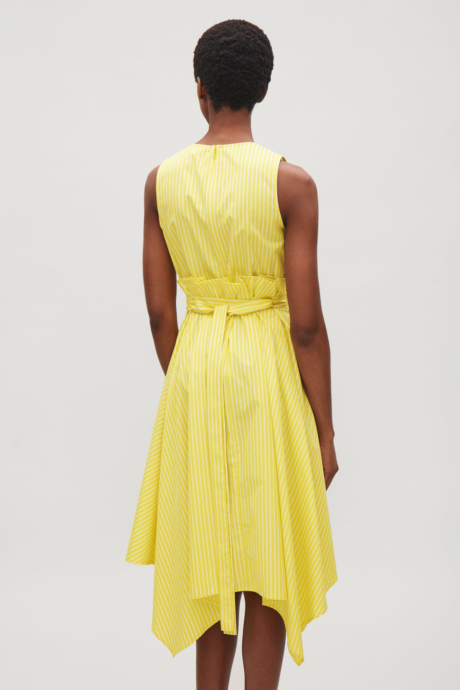 COS - Yellow Sleeveless Dress With Pleated Waist - Lyst f930d4393