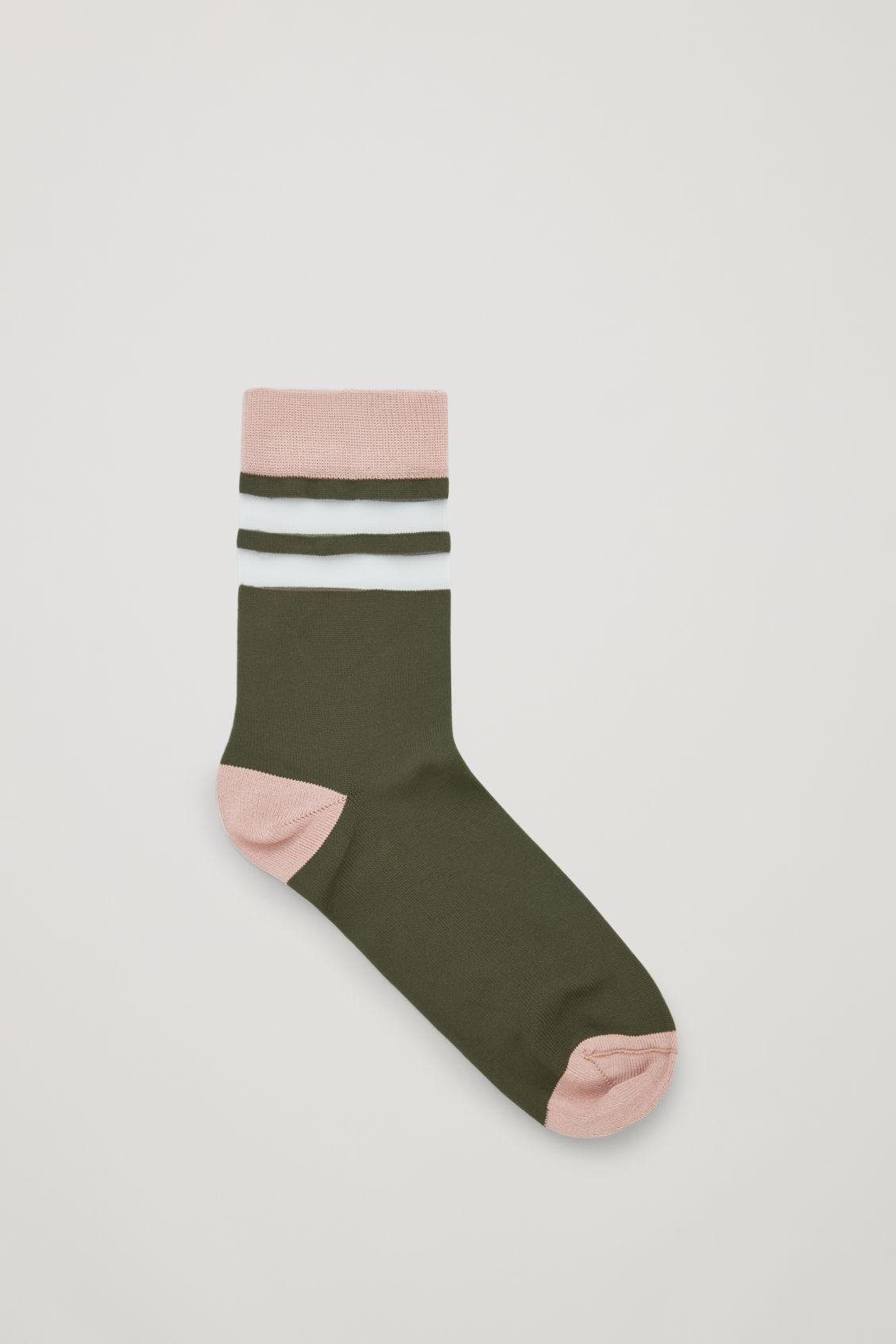 7b3586666c8c1 COS Sheer Striped Socks in Green - Lyst