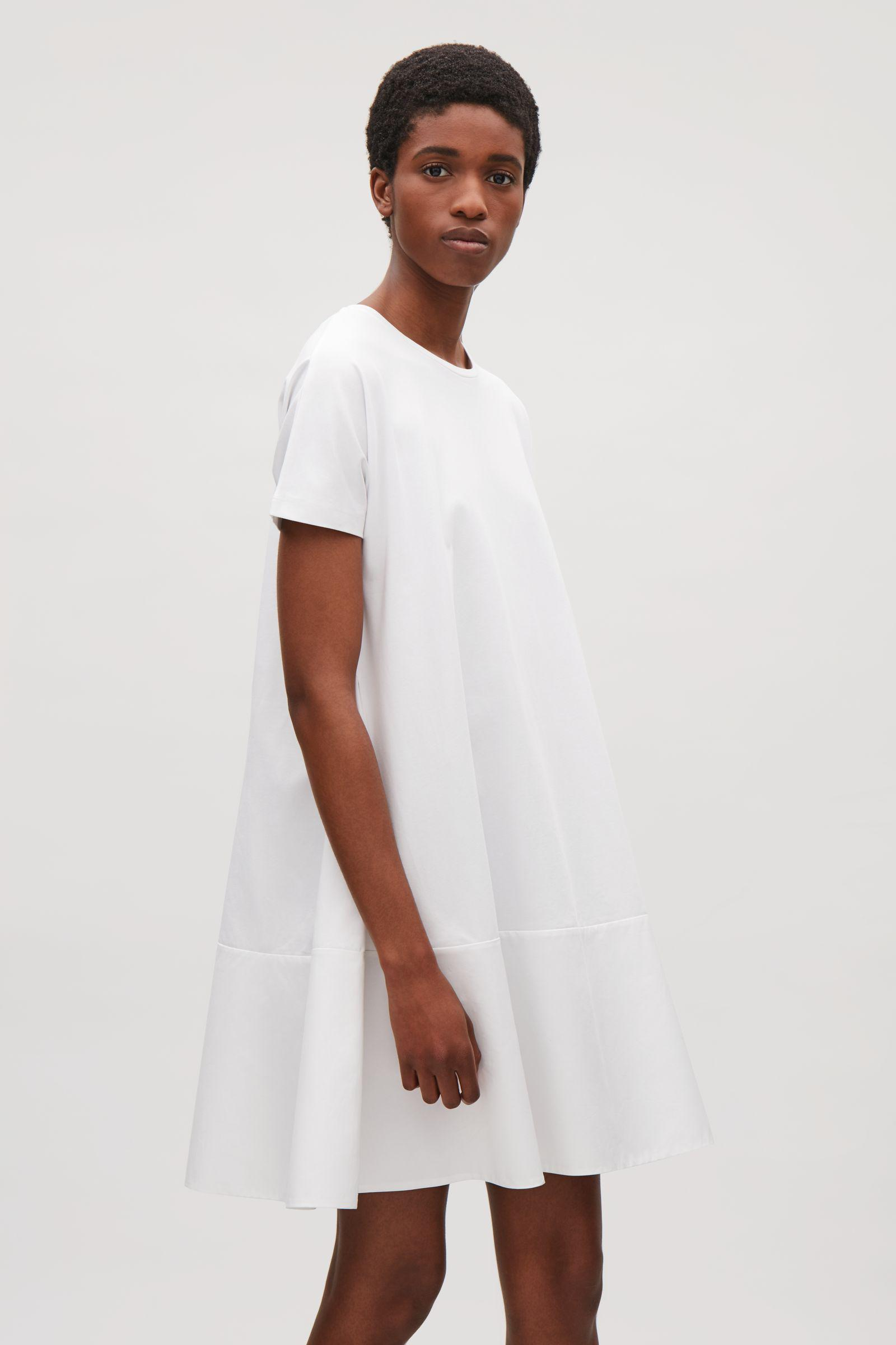 77a1b12984 COS Contrast Panel Dress in White - Lyst