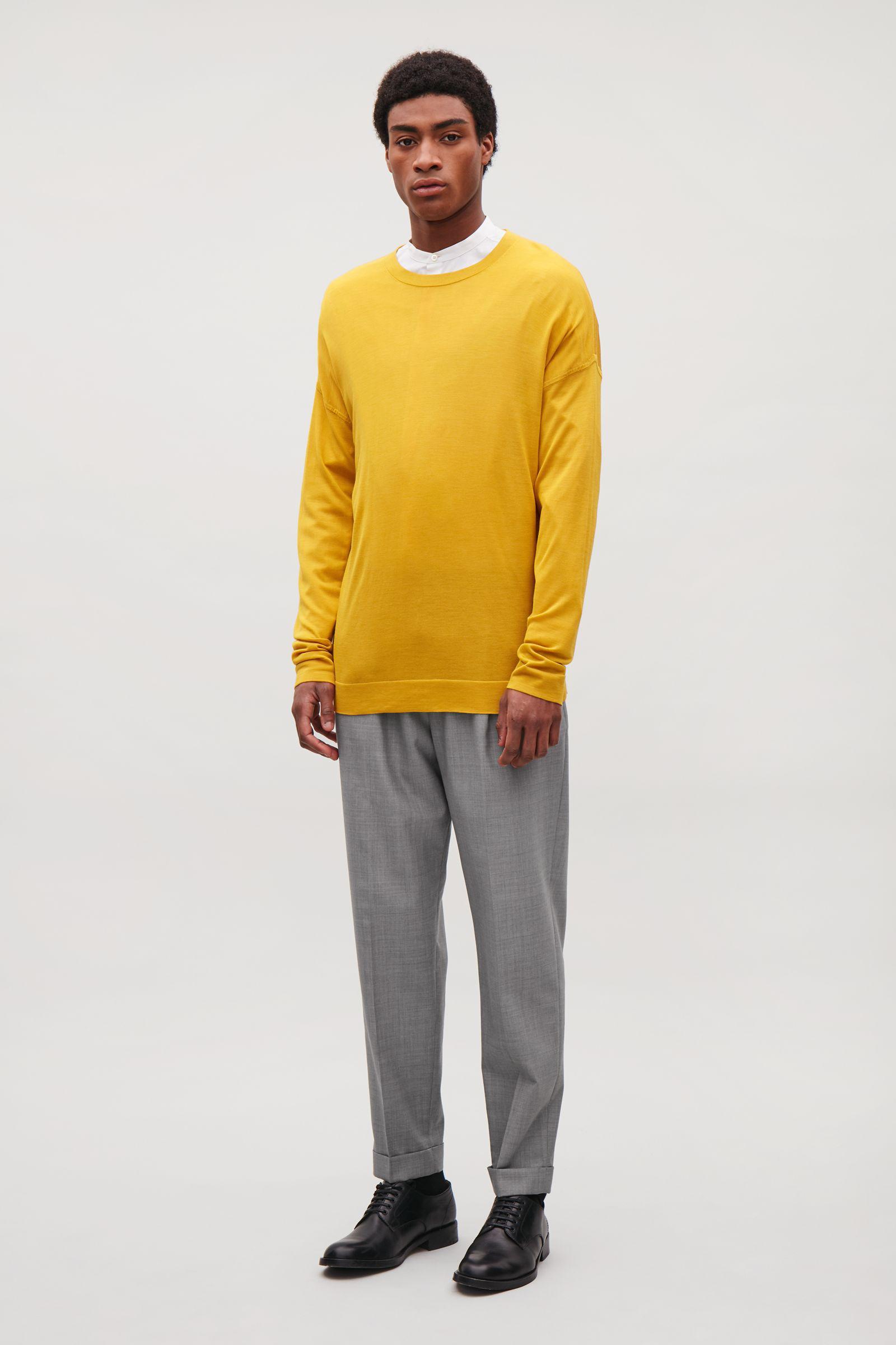 e0d29291f57 Lyst - COS Fine Silk-merino Jumper in Yellow for Men
