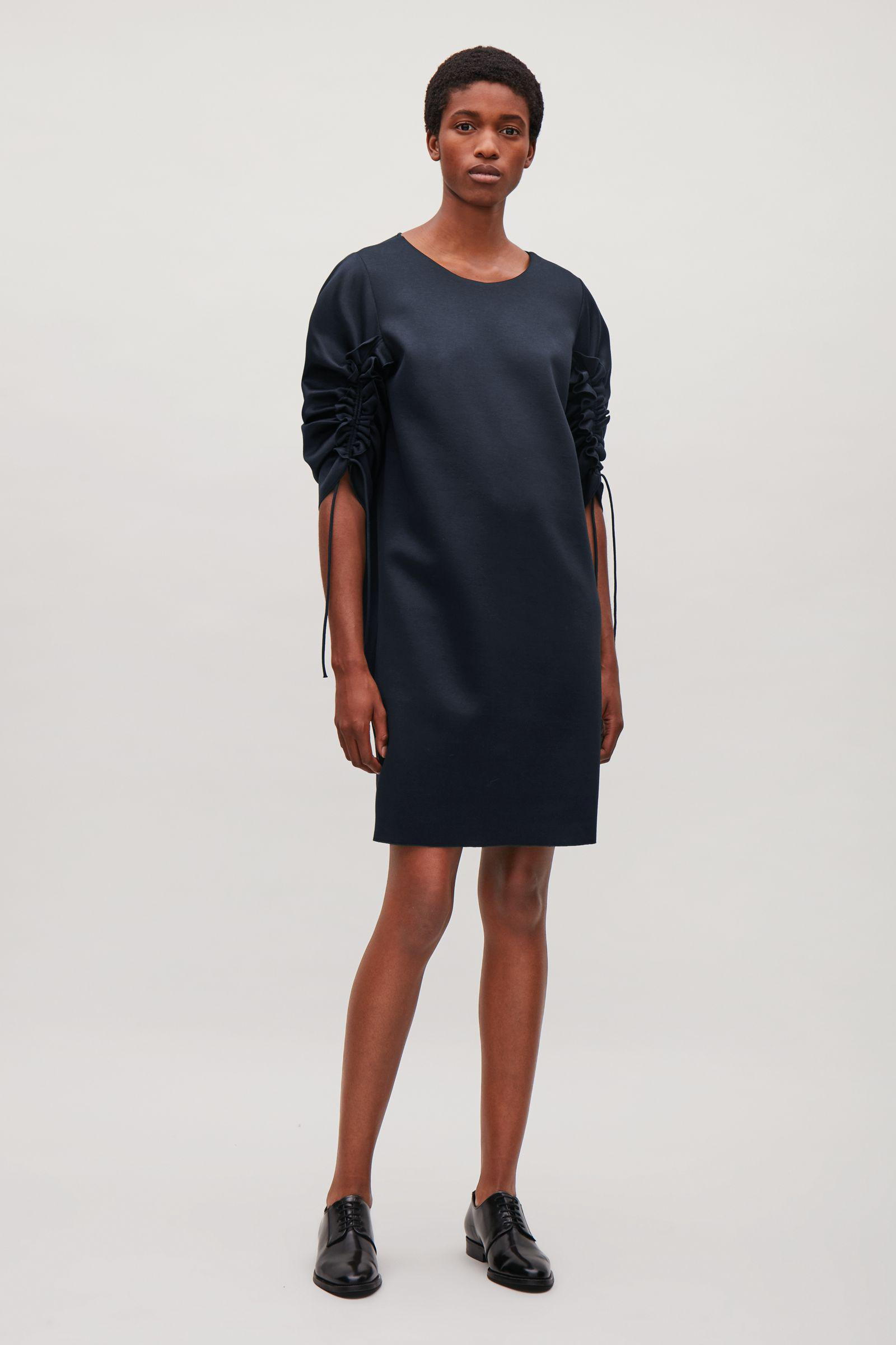 b3361b582d2b COS Gathered-sleeve Jersey Dress in Blue - Lyst