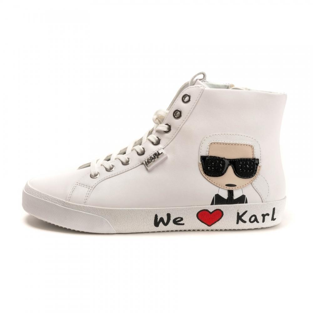 1e2a63523a9 Karl Lagerfeld - White Skool Karl Ikonik Hi Lace Womens Trainer - Lyst.  View fullscreen