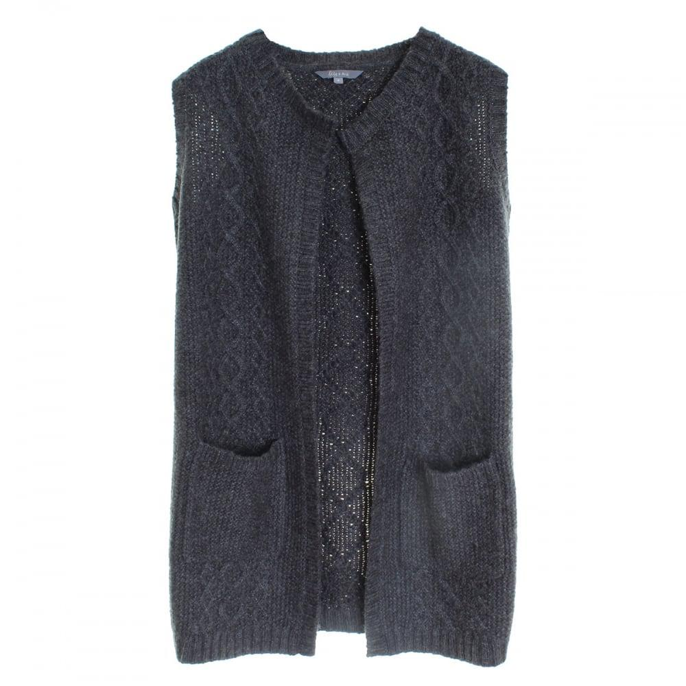 Lily & me Cable Knit Long Line Marl Ladies Cardigan in Gray | Lyst