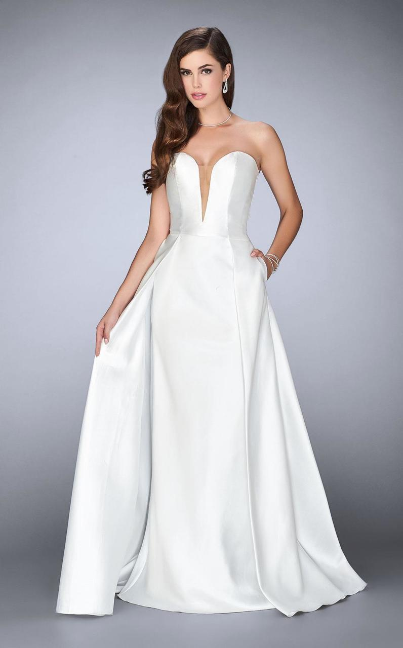 81fba6af3c3 2. La Femme - White 24467 Deep Sweetheart Strapless Mikado Cape Prom Dress  ...