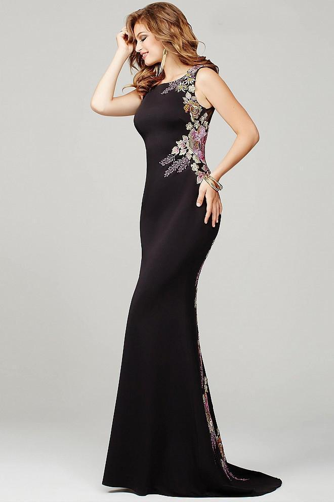 2401a9d64c Lyst - Jovani Trailing Floral Embroidered Sheath Gown - 1 Pc Black ...