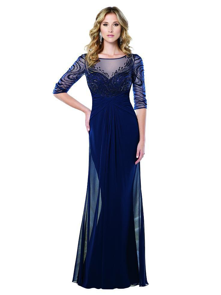 Lyst - Mon Cheri Ruched Beaded Gown 215919w 1 Pc Navy Blue In Size ...