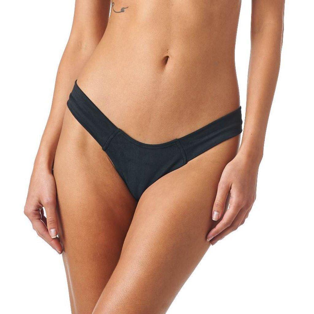 13aa56dcdbe Montce Swim. Women s Black Faux Suede Additional Coverage Uno Bikini Bottom