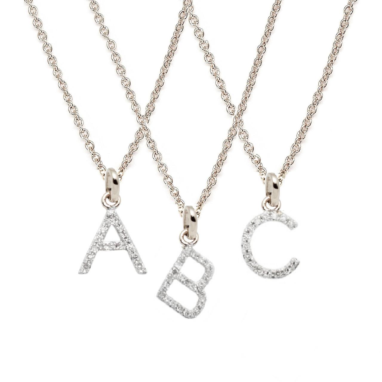 Rachael ryen white gold petite diamond letter necklace for Letter d diamond pendant